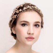 Handmade Bridal Gold Tiara Crown Flower Bridesmaid Hair Headpiece G486 - UK