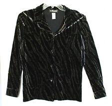 Sag Harbor Size PS Button Front Black Tan Animal Print Velour Shirt, long sleeve