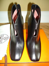 NIB HERMES BOTTINE HONEY VEAU NOIR SHOES SZ 37