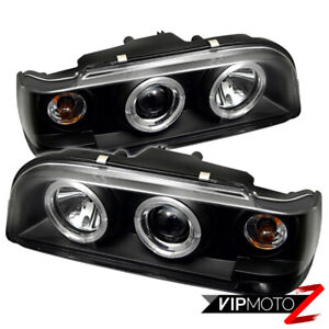 Left+Right Black Halo Angel Eye Projector Headlight Signal Lamp 93-97 Volvo 850