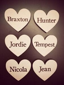 wooden personalised hearts