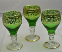 3 Vintage Hand Blown Cordial Glasses Green & Gold Hand Painted Made in Italy