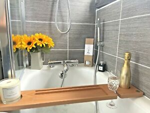 Bath Board / Tray; Solid Beech wood; With Wine Glass, Candle & Tablet Holder
