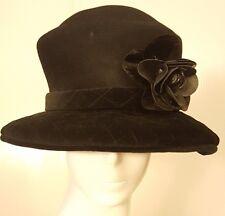 Vtg, Oscar de la Renta Millinery, Black, Wool/Velour, Bucket Hat (M)