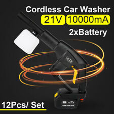 21V Cordless Rechargeable Car Washer High Pressure Hose Cleaner+ 10000mA