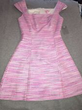 Lilly Pulitzer Pink Rylan Metallic Striped A-line Tweed Dress Size 4 NWT summer