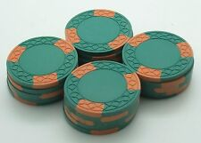Set of 20 ASM Casino Style SqinCr Mold Clay Chips Green-Orange inserts FREE SHIP
