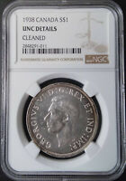 :1938 SILVER DOLLAR GEORGE-VI S1$ CANADA KM# 37 LOW-POP NGC UNC-DETAILS KEY-DATE