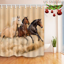Farm Horses Run in Desert Bathroom Shower Curtain Waterproof Fabric & 12 Hooks