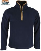 Mens Outdoor Country Navy Thermal Fleece Top Pullover Jumper Half Zip Neck