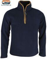 Mens Outdoor Country Navy Thermal Fleece Top Pullover Jumper Half Zip Neck