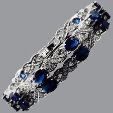 Schmuck Tennis Armband 18K Weissgold Vergoldet Oval Zirkonia Blau Saphir