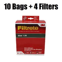 10 FJM Allergen Filtrete 3M Vacuum Bags for Miele + 4 Filters 68704-2