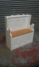 3ft solid pine painted cream/white monks bench pew/made to measure/farrow & ball