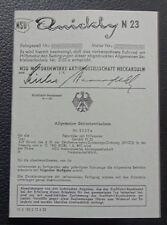 abe NSU Quickly N 23 Betriebserlaubnis Blanko 50/60 er Jahre  Design grau papier