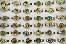 Wholesale Lots 36pcs Mixed Round Shell Ring Womens Stainless Steel Fashion Rings