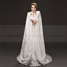 Elegant White Faux Fur Long Wedding Cape Warm Women Jacket Bridal Coat  Cloaks