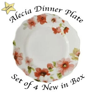 222 Fifth Set of 4 Alicia Dinner Plates - NIB - Box has minor scratch - see pics