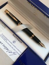 WATERMAN L'ETALON BLACK GT 18K MEDIUM NIB FOUNTAIN PEN-FRANCE-BOXED-NOS