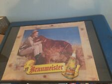 1940s Braumeister beer lady hunting gun & lab dog cardboard litho large sign wis