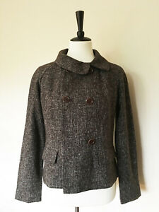 Banana Republic Women Size 8P Brown Tweed Blazer Suit Separate Double Breasted