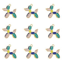 12Pcs/Lot 27x26mm Colorful Alloy Enamel Balloon Dog Charms Pendant DIY Findings