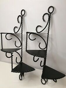 Vtg Pair Of Hand Crafted Wrought Iron 3 Tier Spiraled Wall Shelves