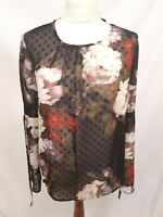 BNWT - M&S Collection Petite Long Sleeve Chiffon Top - Size 8 - Floral