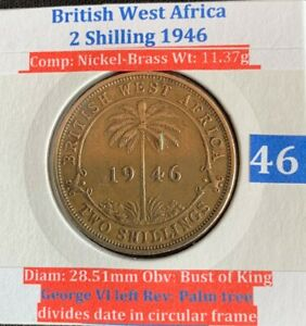 British West Africa 2/- Shillings 1946 (VF condition)
