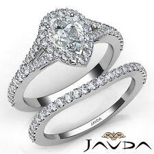 1.81ctw Estilo Pavé Halo Novia Pera Anillo de Compromiso Diamante GIA F-VS2 con
