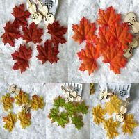 100Pcs/Set DIY Artificial Fall Silk Leaves Favor Autumn Maple Leaf Decoration