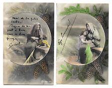 2 CPA BA09 BIBLIQUE MARIE MERE PROTECTION ENFANT RAMEAU OLIVIER POMME PIN 1900
