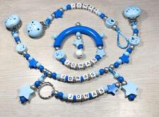 Set Schnuller-Kinderwagenkette + Greifling + Schlüsselanhänger mit Wunschnamen💙