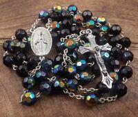 Catholic Black Dark Blue Rosary Crystal Beads Necklace Miraculous Medal & Cross