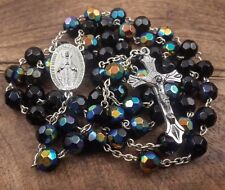 Catholic Black & Blue Rosary Crystal Beads Necklace Miraculous Medal & Cross