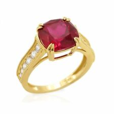 14k Yellow Gold Cushion Cut Ruby Solitaire Engagement Ring Size 5-9