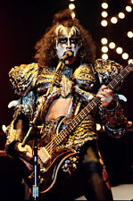 """12""""*8"""" concert photo of Gene Simmons of Kiss playing at Wembley in 1980"""