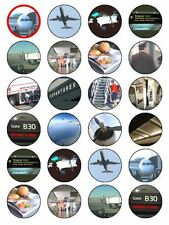 X24 AIRLINE CUP CAKE TOPPERS DECORATIONS ON EDIBLE RICE PAPER