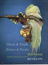 PUBLICITE ADVERTISING  1956   REVILLON  parfum DETCHEMA  Oiseau du Paradis