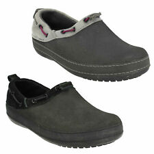 SURREY LADIES CROCS SLIP ON CASUAL LEATHER SUEDE CLOGS FLAT BLACK GREY SHOES