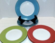Crate and Barrel Salad Plates Banded in 2 Colors Ea of Red Blue Green Set of 6