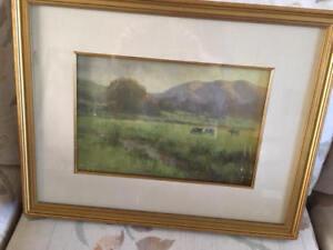 glenna hartmann painting, cows in the mist, original American Art