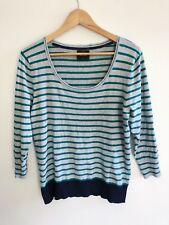 Jeanswest Women's Size L Jumper Green Grey Navy Stripe