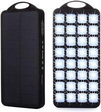 SOLAR POWER BANK CHARGER 32 LED LIGHT 2 USB 8000mAh EXTERNAL BACKUP BATTERY PACK