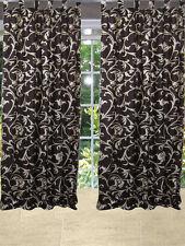 Brown Printed Scroll Curtain Window Panel Tab Tops Window Treatment