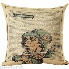 ALICE In WONDERLAND Mad Hatter Singing LINEN-COTTON Canvas CUSHION COVER UK Sale