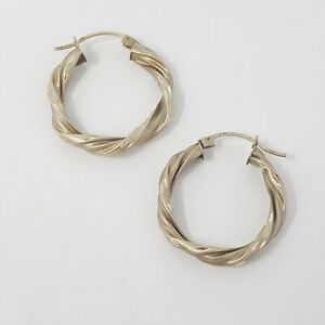 14k Yellow Gold Hoop Earrings Hollow Core Twist Etched Detail Matte Finish 3g