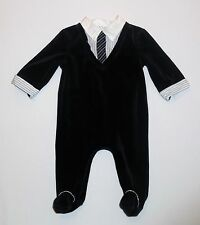 F.A.O. Dressy Mock Striped Shirt & Tie Navy Blue Footed Velour Romper, 6 mos.