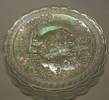 Vintage Imperial Iridescent Glass  Country  Scene Landscape Cabin Plate