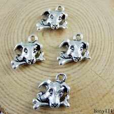 40pcs Vintage Silver Alloy Cute Dog Charms Pendant Crafts Jewelry Making 51149